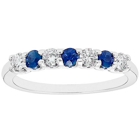 Sapphire & 0.28 CT. T.W. Diamond Band in 14K White Gold