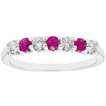 Ruby & 0.28 CT. T.W. Diamond Band in 14K White Gold