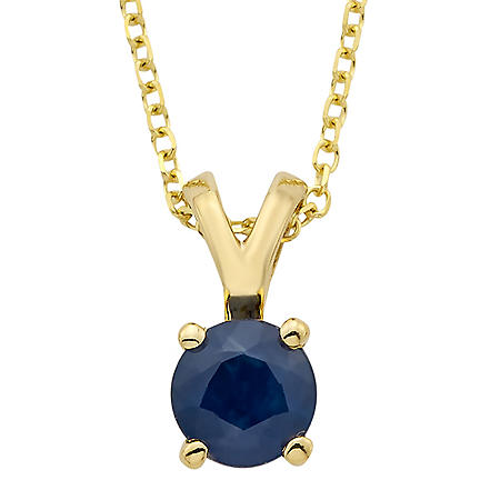 4.5mm Round Sapphire Pendant in 14K Gold