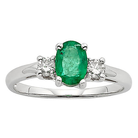 Three Stone Oval Emerald Ring with .20CT. T.W. Diamond Set in 14K Gold