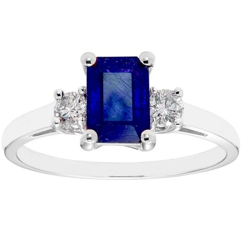 Three Stone Octogonal Sapphire Ring with .20CT. T.W. Diamond Set in 14K Gold