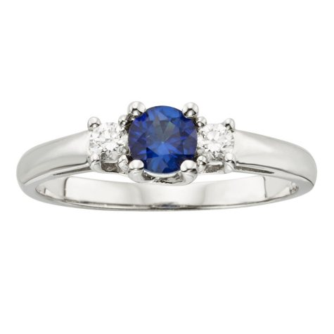 Three Stone Sapphire Ring with .14CT. T.W. Diamond Set in 14K Gold
