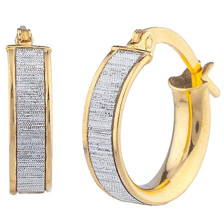 Glitter Huggie Hoop Earrings in Italian 14K Yellow Gold