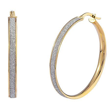 Glitter Hoop Earrings in Italian 14K Yellow Gold