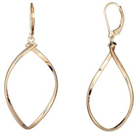 Oval Twist Dangle Earrings in Italian 14K Yellow Gold