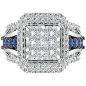 1.95 CT. T.W. Diamond and Sapphire Bridal Ring Set in 14K White Gold