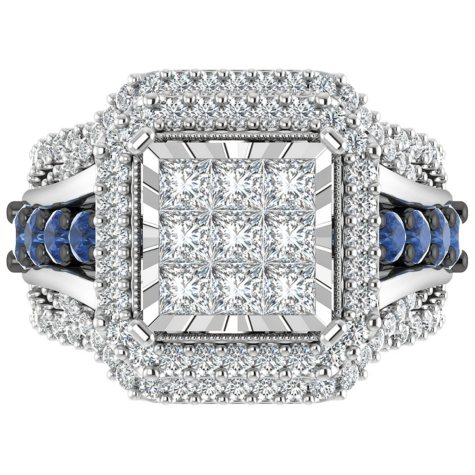 1.95 CT. T.W. Diamond and Sapphire Engagement Ring Set in 14K White Gold