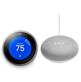 Nest Learning Thermostat and Google Home Mini (Choose Color Style)