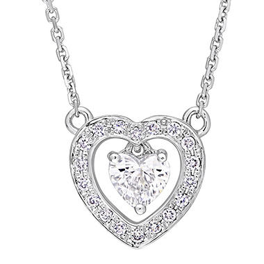 0.39 CT. T.W. Diamond Double Heart Necklace in 14K White Gold