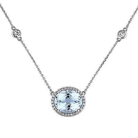 Allura 5 CT. Aquamarine and White Sapphire with 0.16 CT. Diamond Station Halo Necklace in 14K White Gold