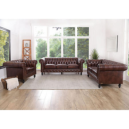Rockford Brown Top-Grain Leather 3-Piece Set