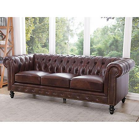 Rockford Brown Top-Grain Leather Sofa