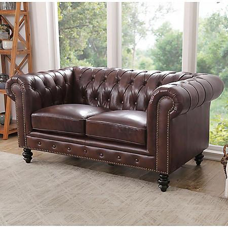 Rockford Brown Top-Grain Leather Loveseat