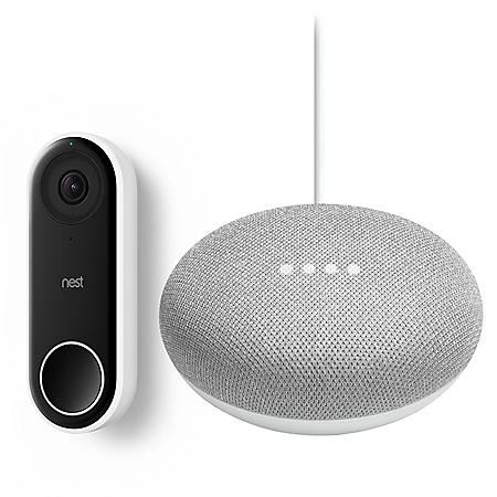 Google Nest Hello Video Doorbell with Google Home Mini (Choose Color Style)