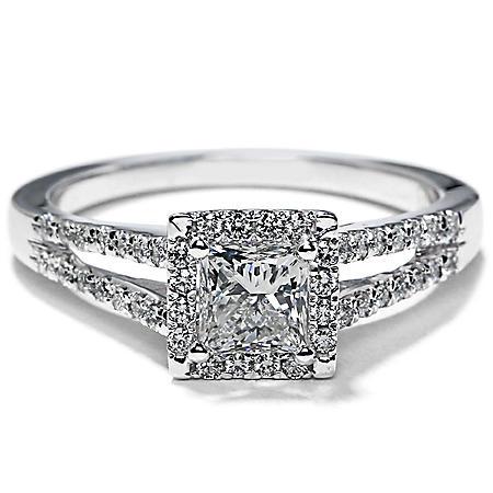 Premier Diamond Collection 1.02 CT. T.W. Princess Shape Diamond Halo Ring in 18K White Gold - GIA & IGI (E, SI2)