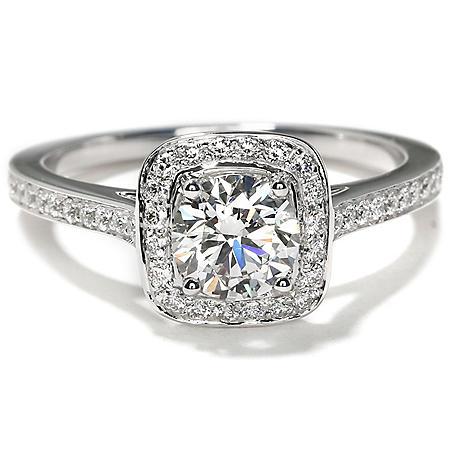 Premier Diamond Collection 1.13 CT. T.W. Round Shape Diamond Halo Ring in 18K White Gold - GIA & IGI (H, VS2)