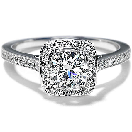 Premier Diamond Collection 1.03 CT. T.W. Round Shape Diamond Halo Ring in 18K White Gold - GIA & IGI (I, SI1)