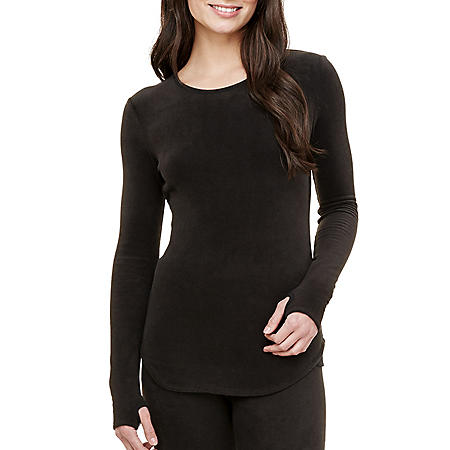Cuddl Duds Women's Fleece With Stretch Long Sleeve Crew