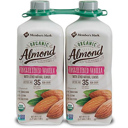 Member's Mark Organic Unsweetened Vanilla Almondmilk (2 pk., 64 oz.)