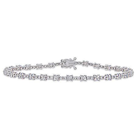 "Allura 1.67 CT. T.W. Diamond Station Bracelet in 14K White Gold, 7"""
