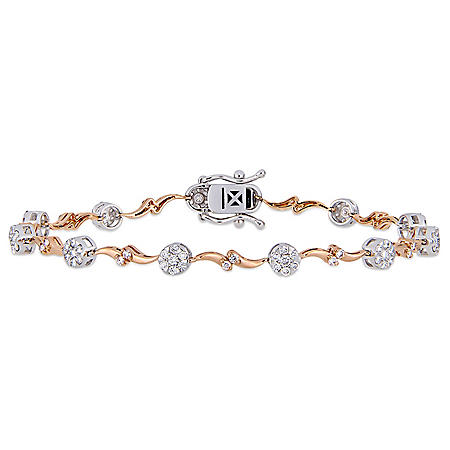 "Allura 1.17 CT. T.W. Diamond Station Wavy Bracelet in 14K Two-Tone Gold, 7"""