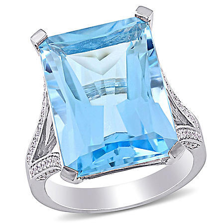 Allura 18 CT. Blue Topaz and 0.4 CT. T.W. Diamond Octagon Cocktail Ring in 14K White Gold