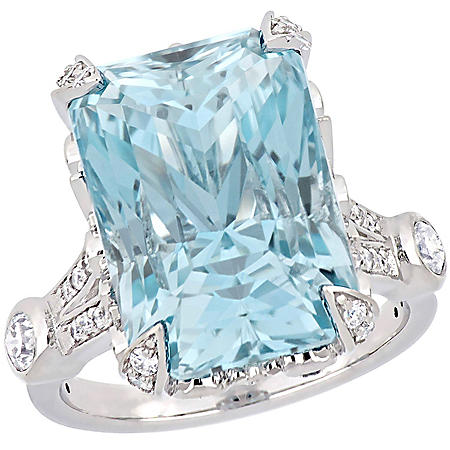 Allura 21.1 CT. Natural Untreated Blue Topaz and 1.16 CT. T.W. Diamond Cocktail Ring in 14K White Gold