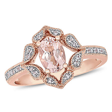 0.75 CT. Morganite and White Topaz Engagement Ring in 14K Rose Gold