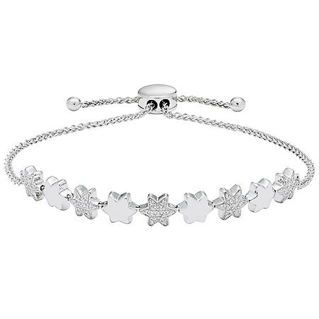 0.18 CT. T.W. Sterling Silver Diamond Star Bolo Bracelet
