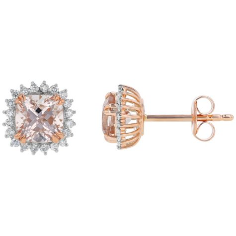 Pink Morganite and Brilliant White Diamond Earrings in 14K Pink Gold