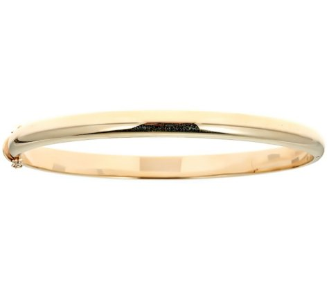 14K Solid Yellow Gold  High Polish Bangle, 8""