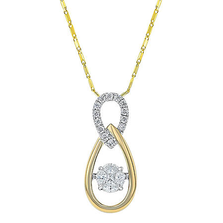 0.50 CT. T.W. Inter-Linked Ovals Pendant in 14K Yellow & White Gold