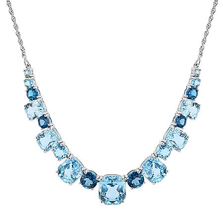 Swiss, Sky and London Blue Topaz Sterling Silver Necklace