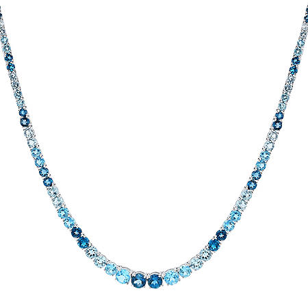 London Swiss & Sky Blue Topaz Sterling Silver Necklace