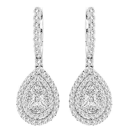 1.0 CT. T.W. Double Halo Pear Shaped Dangle Earrings in 14 Karat White Gold