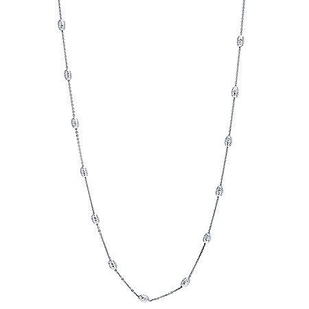 "Italian Sterling Silver 60"" Diamond Cut Station Bead Necklace"