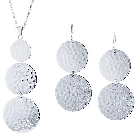 Sterling Silver Artisan Hammered Multi Circle Pendant and Earring Set