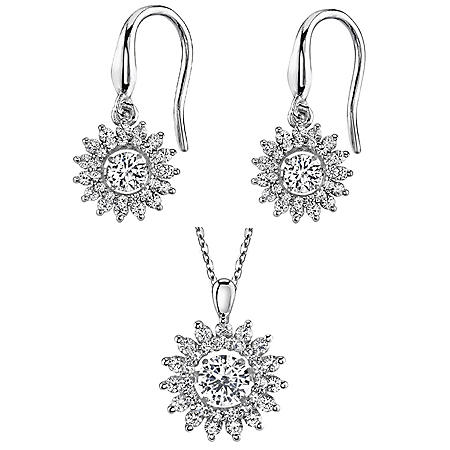 Sterling Silver Lab Created White Sapphire Earring and Pendant Dancing Set