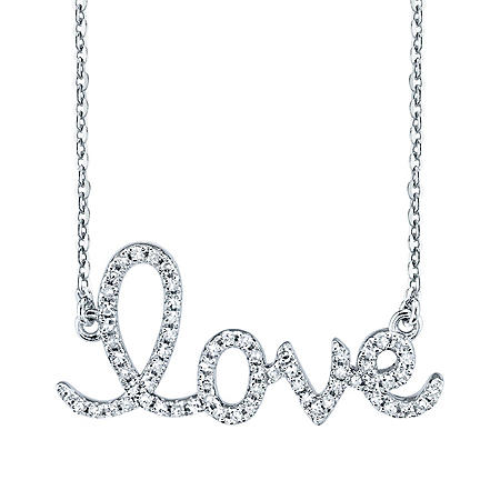 Sterling Silver LOVE 0.12 CT. T.W. Diamond Necklace