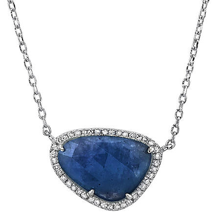 Sterling Silver Sapphire and 0.12 CT. T.W. Diamond Pendant