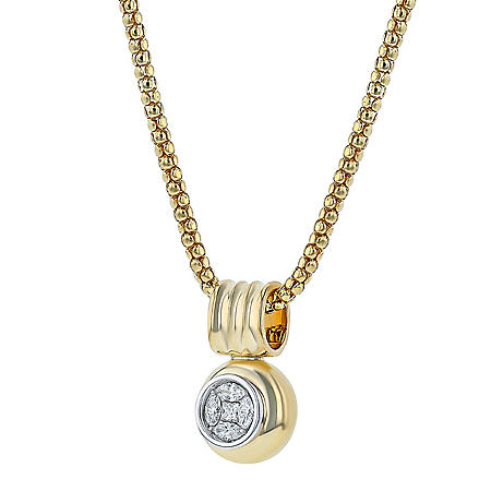 0.50 CT. T.W. Two-Tone Vintage-Inspired Diamond Pendant in 14k Gold
