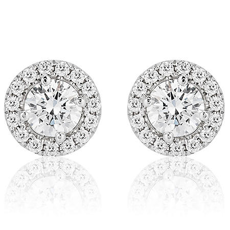Superior Quality Collection 1.2 CT. T.W. Round Diamond Stud Earrings in 18K White Gold (I, VS2)
