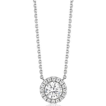 Superior Quality Collection 0.80 CT. T.W. Round Diamond Pendant in 18K White Gold (I, VS2)