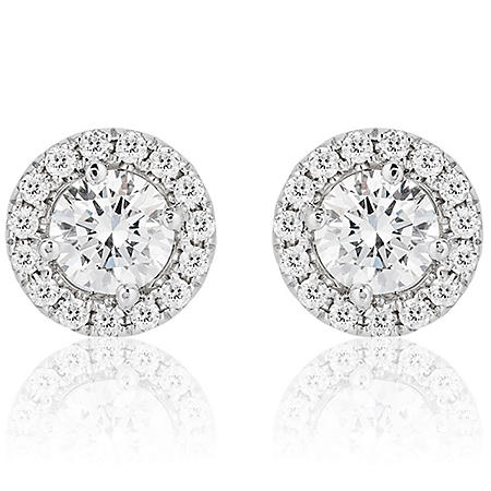 Superior Quality Collection 2.2 CT. T.W. Round Diamond Stud Earrings in 18K White Gold (I, VS2)