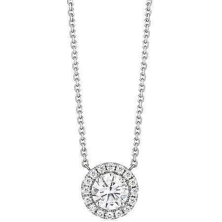 Superior Quality Collection 1.10 CT. T.W. Round Diamond Pendant in 18K White Gold (I, VS2)