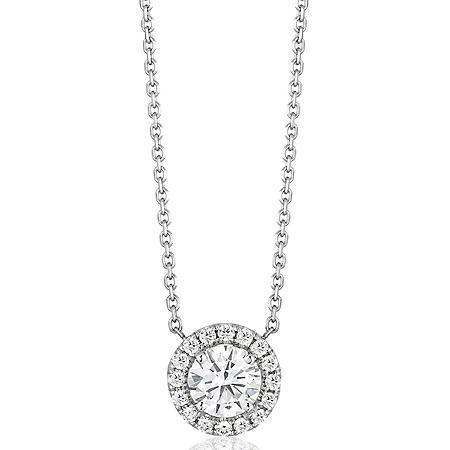 Superior Quality Collection 0.60 CT. T.W. Round Diamond Pendant in 18K White Gold (I, VS2)