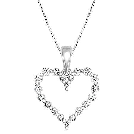 0.23 CT. T.W. Diamond Heart Pendant in 14K Gold