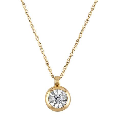 0.04 CT. T.W. Round Diamond Pendant in 14k Two-Tone Gold
