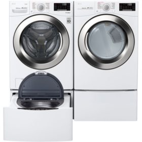 LG WM3700HWA, DLEX3700W, WD100CW, WDP4W - Ultra Large Capacity Front Load Washer and Dryer Suite with SideKick Washer and Pedestal - White