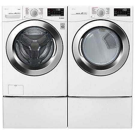 LG - WM3700HWA, DLEX3700W, and two WDP4W - Ultra Large Capacity Front Load Washer and Dryer Suite with SideKick Washer and Pedestal - White